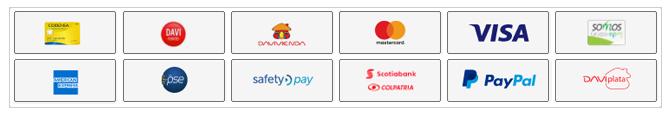 Pague en línea con epayco usando PSE, tarjeta de crédito y debito, tarjeta codensa, tarjeta somos, paypal y daviplata. Hosting Colombia